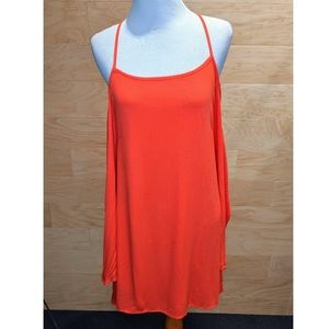 Solemio | Orange Off Shoulder Tank Mini Dress